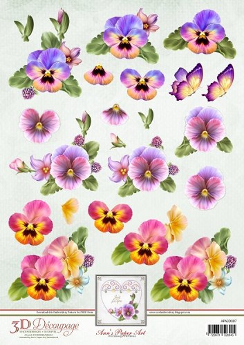 3D Knipvel - Ann Paper Art - Colourful Pansies