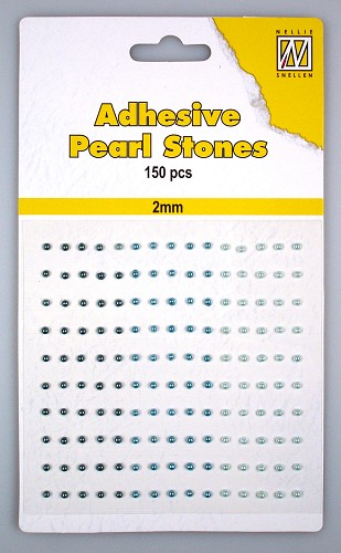 150 Adhesive pearls 2mm, 3-colors - Blue