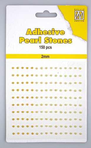 150 Adhesive pearls 2mm, 3-colors - Yellow/gold
