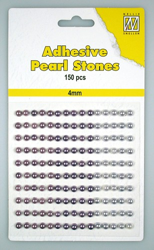 150 Adhesive pearls 4mm, 3-colors - Purple