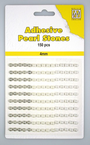 150 Adhesive pearls 4mm, 3-colors - White