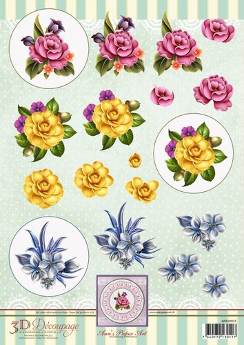 3D Decoupage Sheet Flower Circles