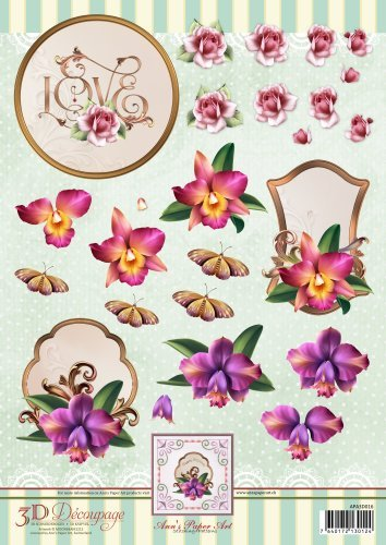 3D Decoupage Sheet Orchids