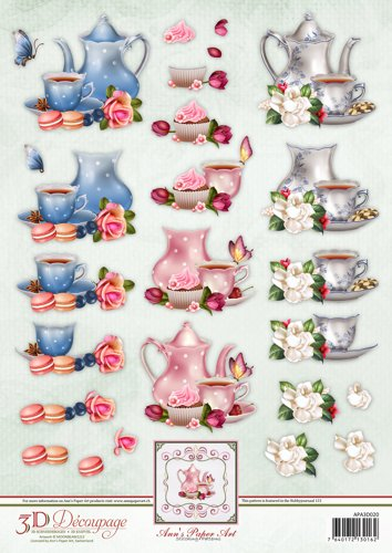 Anns Paper Art 3D Decoupage Tea Time
