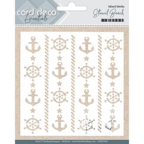 Card Deco Essentials - Mixed Media Stencil Beach