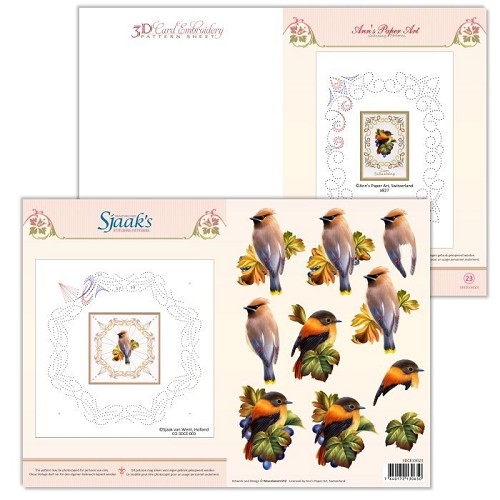 3D Card Embroidery Pattern Sheet  #23 with Ann &  Sjaak