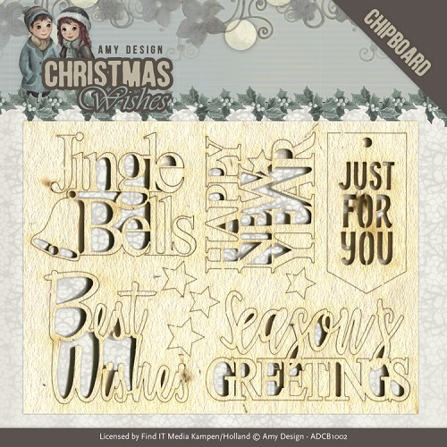 Chipboard - Amy Design - Christmas Wishes - Text