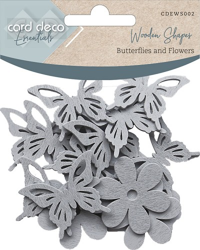Card Deco Essentials - Wooden Shapes - Butterflies and Flowers - Light Grey