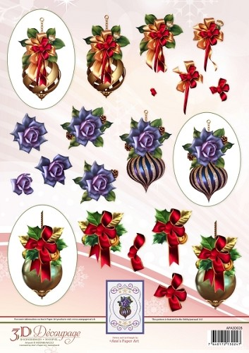 Ann's Paper Art 3D Decoupage Sheet - Christmas Baubles