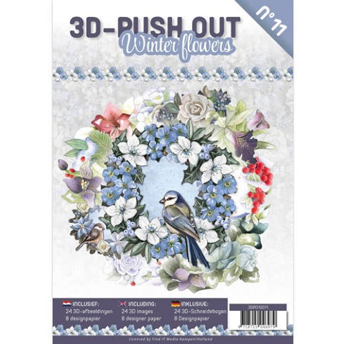 3D Push Out Book Winter Flowers