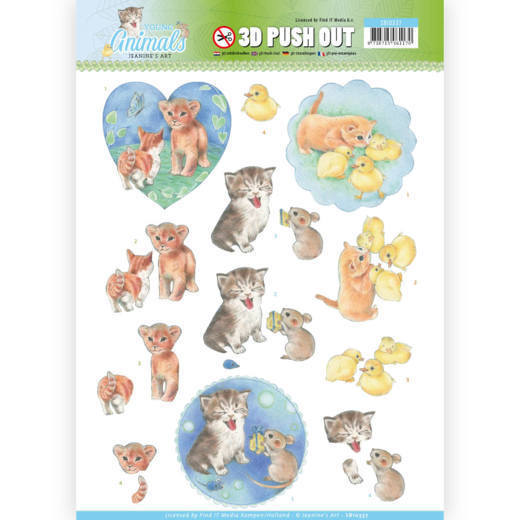 3D Pushout - Jeanine's Art - Young Animals - Kittens