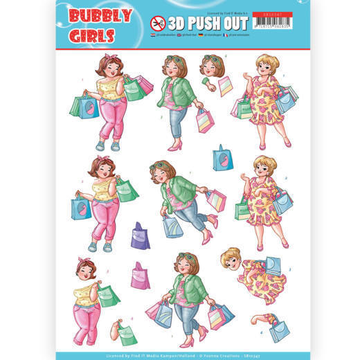 3D Pushout - Yvonne Creations- Bubbly Girls - Shopping