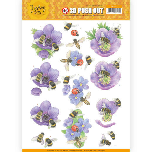 3D Pushout - Jeanines Art - Buzzing Bees - Purple Flowers
