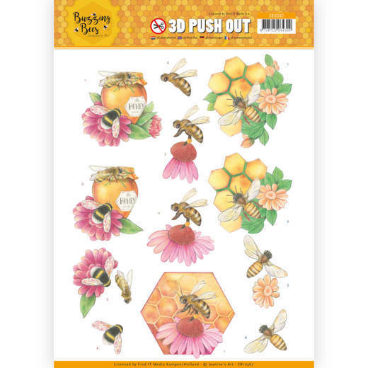 3D Pushout - Jeanines Art - Buzzing Bees - Honey Bees
