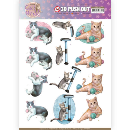 3D Pushout - Amy Design - Cats World - Playing Cats