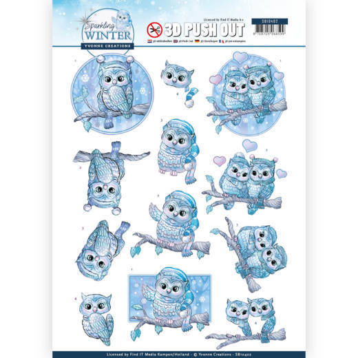 3D Pushout - Yvonne Creations - Sparkling Winter - Winter Owls