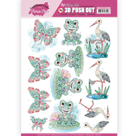 3D Pushout - Yvonne Creations - Floral Pink (Kitschy Lala) - Kitschy Frog