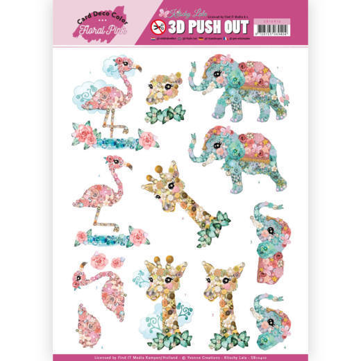 3D Pushout - Yvonne Creations - Floral Pink (Kitschy Lala) - Kitschy Animals