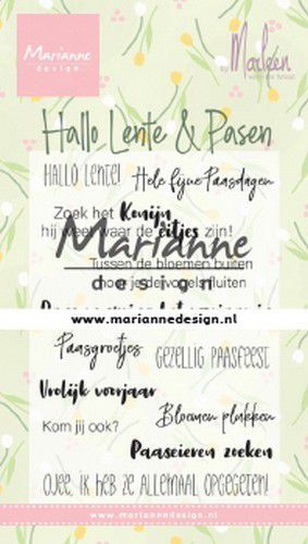 Marianne D Clear Stamps Marleen's Hallo Lente & Pasen (NL) CS1043 85x120mm (02-20)