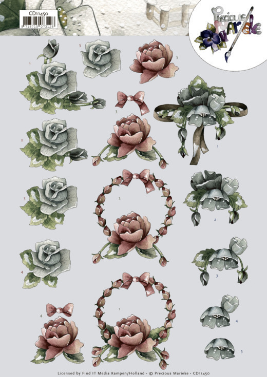 3D cutting sheet - Precious Marieke - All kinds of roses