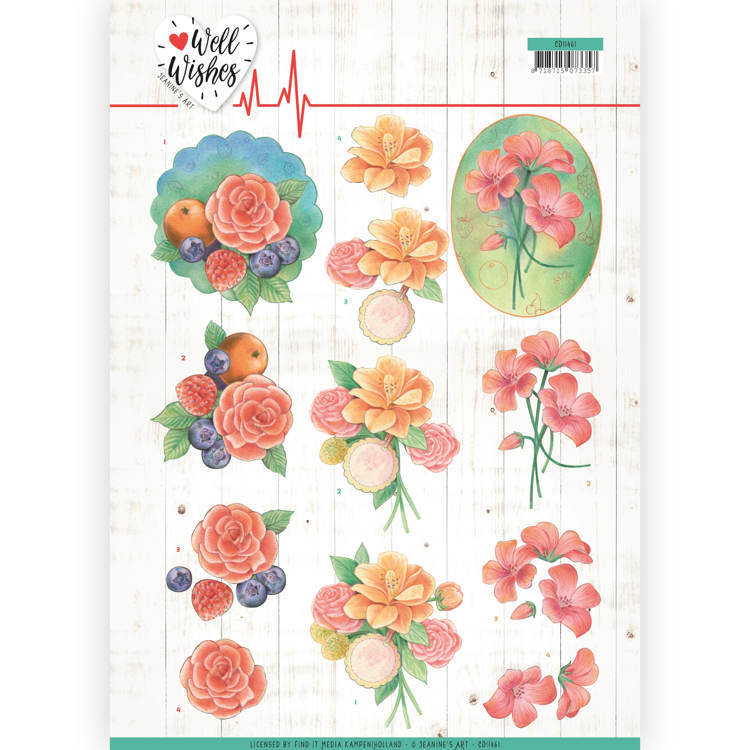 3D Cutting sheet - Jeanine's Art - Well Wishes - A Bunch of Flowers