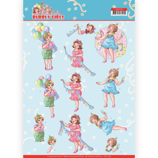 3D cutting sheet - Yvonne Creations - Bubbly Girls - Party - Party Time