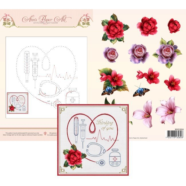3D Card Embroidery Sheet 24 Medical