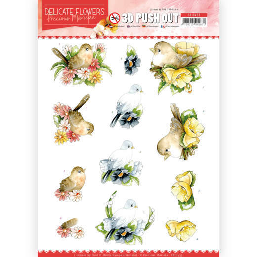 3D Push Out - Precious Marieke - Delicate Flowers - Birds