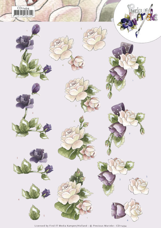 3D cutting sheet - Precious Marieke - Purple Flowers