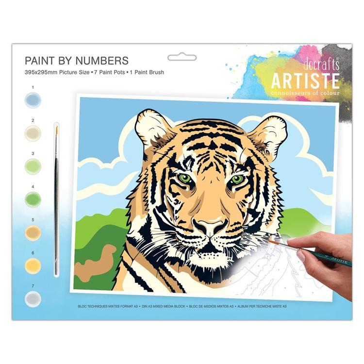 Large Painting By Numbers - Regal Tiger