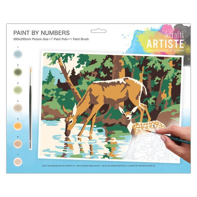 Large Painting By Numbers - Woodland Deer