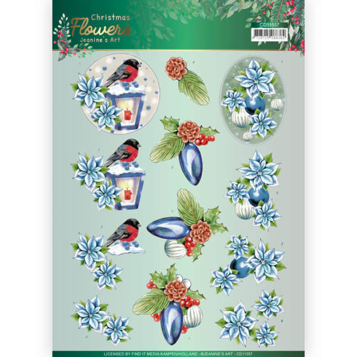 3D cutting sheet - Jeanines Art  Christmas Flowers - Christmas Lantern