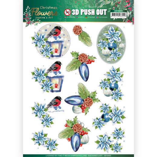 3D Push Out - Jeanines Art  Christmas Flowers - Christmas Lantern