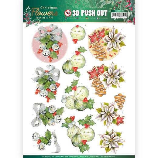 3D Push Out - Jeanines Art  Christmas Flowers - Christmas Bells