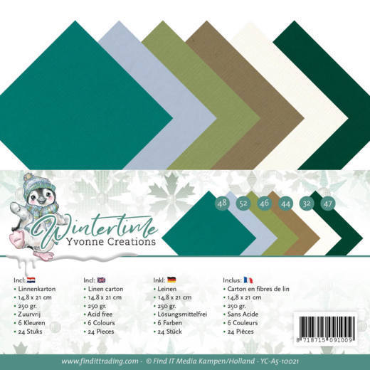Linen Cardstock Pack - A5 - Yvonne Creations - Winter Time