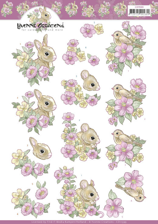 3D Cutting Sheet - Yvonne Creations - Pink flowers and Animals