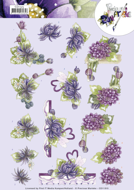 3D Cutting Sheet - Precious Marieke - Purple Dahlias
