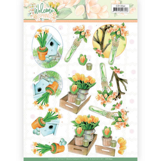 3D cutting sheet - Jeanine's Art - Welcome Spring - Orange Tulips