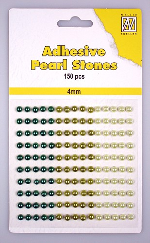 150 Adhesive pearls 4mm, 3-colors - Green