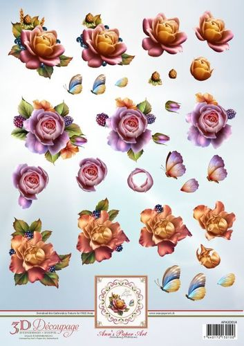 3D Decoupage Sheet Autumn Roses
