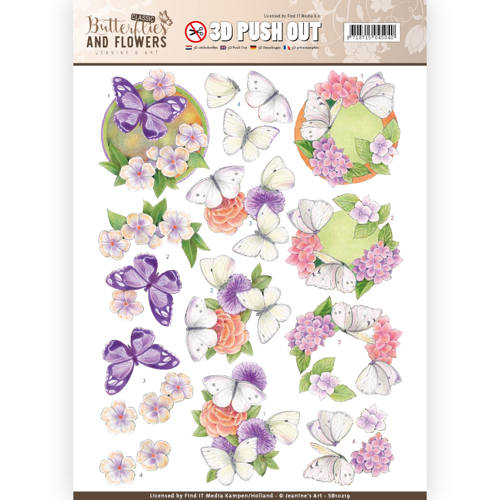3D Push Out - Jeanine's Art - Classic Butterflies and Flowers - White Butterflies