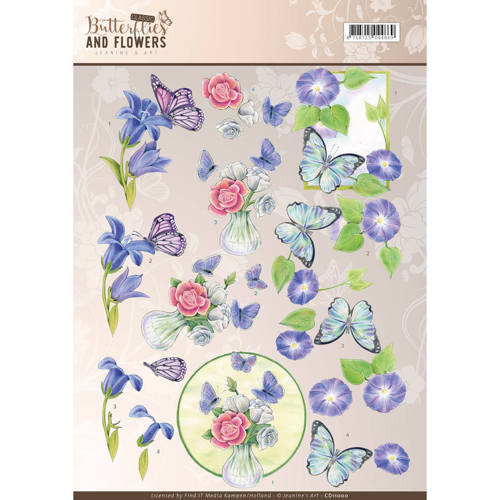 3D Knipvel - Jeanine`s Art - Classic Butterflies and Flowers - Blue Flowers