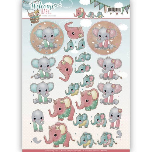 3D-Knipvel - Yvonne Creations - Welcome Baby - Little Elephants