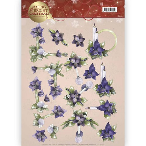 3D knipvel - Precious Marieke - Merry and Bright - Amaryllis in purple