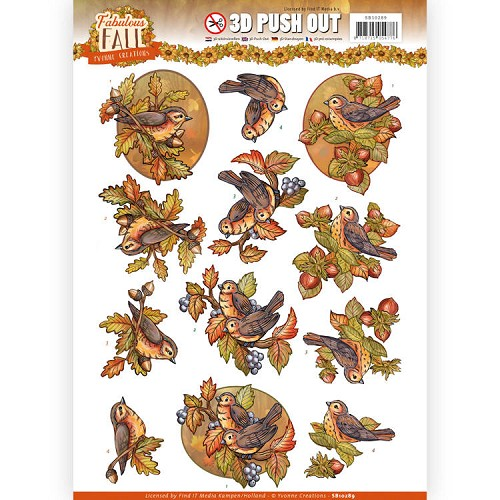 3D Push Out - Yvonne Creations - Fabulous Fall - Fall Birds